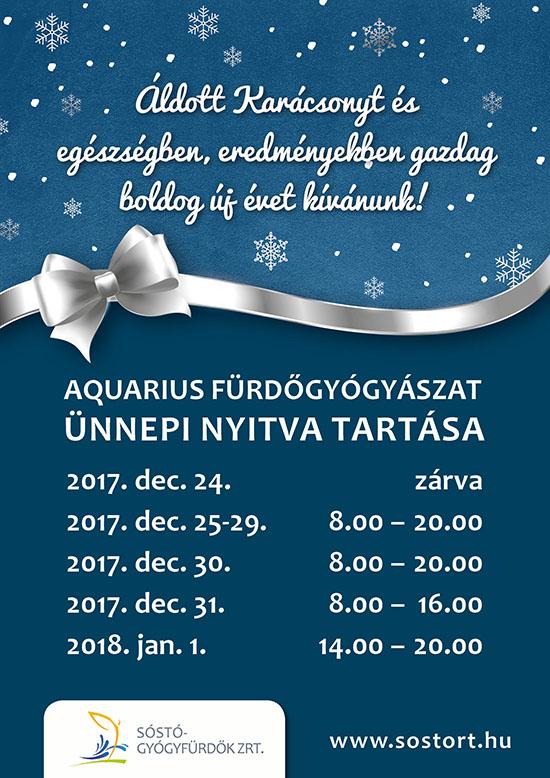 Aquarius fürdőgyógyászat ünnepi nyitvatartása